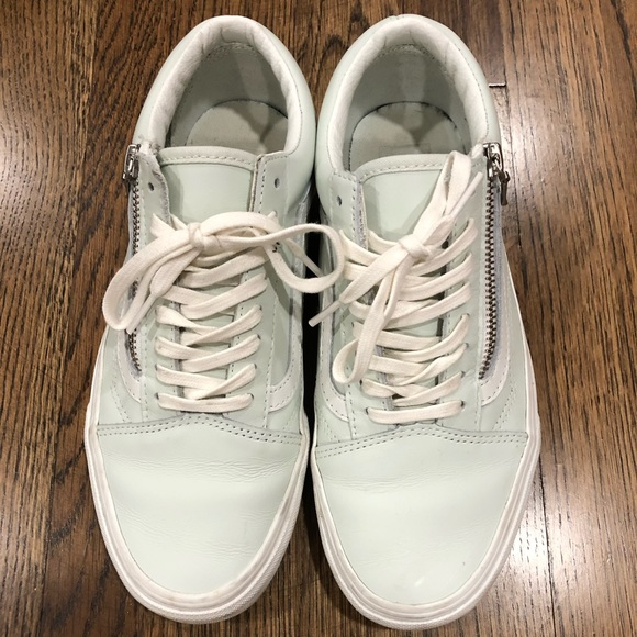 Mint Leather Vans Old Skool